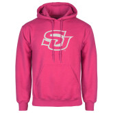 Fuchsia Fleece Hoodie-Interlocking SU White Soft Glitter