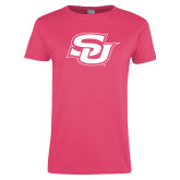 Ladies Fuchsia T Shirt-Interlocking SU