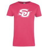 Ladies Fuchsia T Shirt-Interlocking SU