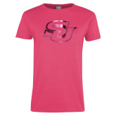 Ladies Fuchsia T Shirt-Interlocking SU Foil