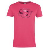 Ladies Fuchsia T Shirt-Interlocking SU Foil