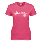 Ladies Fuchsia T Shirt-The Human Jukebox Script