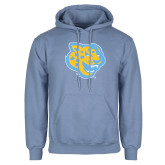 Light Blue Fleece Hoodie-Jaguar Head