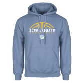 Light Blue Fleece Hoodie-SUBR Jaguars Basketball Half Ball