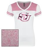 Ladies White/Bright Pink Juniors Varsity V Neck Tee-Interlocking SU Foil