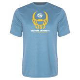 Performance Light Blue Tee-Southern University Football Helmet