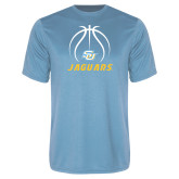 Performance Light Blue Tee-Jaguars Basketball Contour Lines