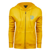 ENZA Ladies Gold Fleece Full Zip Hoodie-Jaguar Head