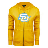 ENZA Ladies Gold Fleece Full Zip Hoodie-Interlocking SU