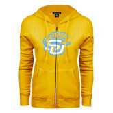 ENZA Ladies Gold Fleece Full Zip Hoodie-SU w/ Jaguar
