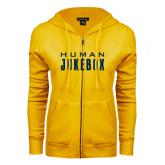ENZA Ladies Gold Fleece Full Zip Hoodie-Human Jukebox Wordmark