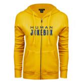 ENZA Ladies Gold Fleece Full Zip Hoodie-Human Jukebox Wordmark Glitter