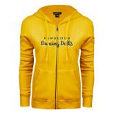 ENZA Ladies Gold Fleece Full Zip Hoodie-Fabulous Dancing Dolls Wordmark Glitter
