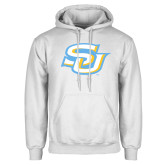 White Fleece Hoodie-Interlocking SU