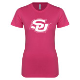 Next Level Ladies SoftStyle Junior Fitted Fuchsia Tee-Interlocking SU