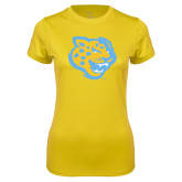 Ladies Syntrel Performance Gold Tee-Jaguar Head