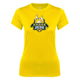 Ladies Syntrel Performance Gold Tee-The Human Jukebox Official Mark