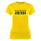 Ladies Syntrel Performance Gold Tee-Human Jukebox Wordmark