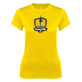 Ladies Syntrel Performance Gold Tee-Fabulous Dancing Dolls Official Mark Distressed
