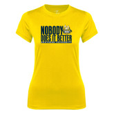 Ladies Syntrel Performance Gold Tee-Nobody Does It Better Stacked