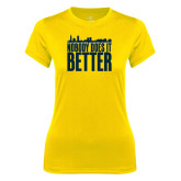 Ladies Syntrel Performance Gold Tee-Skyline