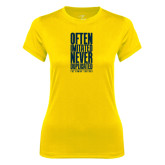 Ladies Syntrel Performance Gold Tee-Often Imitated, Never Duplicated Stacked