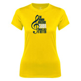 Ladies Syntrel Performance Gold Tee-Nobody Does it Better Music Note