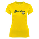 Ladies Syntrel Performance Gold Tee-The Human Jukebox Script