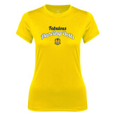 Ladies Syntrel Performance Gold Tee-Fabulous Dancing Dolls Script