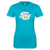 Next Level Ladies SoftStyle Junior Fitted Ice Blue Tee-Interlocking SU