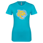 Next Level Ladies SoftStyle Junior Fitted Ice Blue Tee-Jaguar Head
