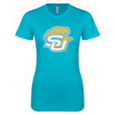 Next Level Ladies SoftStyle Junior Fitted Ice Blue Tee-SU w/ Jaguar