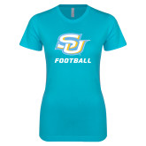 Next Level Ladies SoftStyle Junior Fitted Ice Blue Tee-Football
