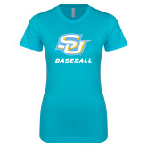 Next Level Ladies SoftStyle Junior Fitted Ice Blue Tee-Baseball