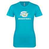 Next Level Ladies SoftStyle Junior Fitted Ice Blue Tee-Basketball