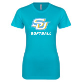 Next Level Ladies SoftStyle Junior Fitted Ice Blue Tee-Softball