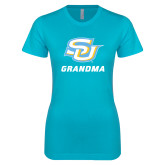 Next Level Ladies SoftStyle Junior Fitted Ice Blue Tee-Grandma