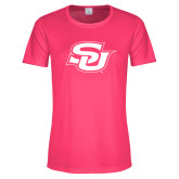 Ladies Performance Hot Pink Tee-Interlocking SU