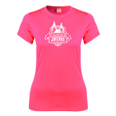Ladies Performance Hot Pink Tee-The Human Jukebox Official Mark