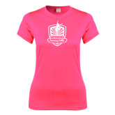 Ladies Performance Hot Pink Tee-Fabulous Dancing Dolls Official Mark