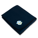 Navy Arctic Fleece Blanket-Interlocking SU