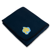 Navy Arctic Fleece Blanket-Jaguar Head