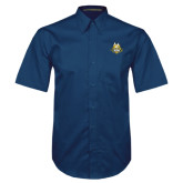 Navy Twill Button Down Short Sleeve-The Human Jukebox Official Mark