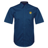 Navy Twill Button Down Short Sleeve-Fabulous Dancing Dolls Official Mark
