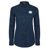 Ladies Navy Twill Button Down Long Sleeve-Interlocking SU