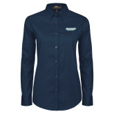Ladies Navy Twill Button Down Long Sleeve-Southern Jaguars