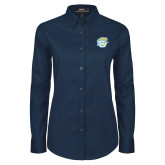 Ladies Navy Twill Button Down Long Sleeve-SU w/ Jaguar