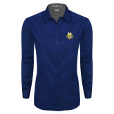 Ladies Navy Twill Button Down Long Sleeve-The Human Jukebox Official Mark