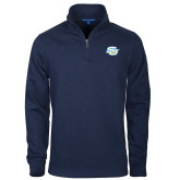 Navy Slub Fleece 1/4 Zip Pullover-Interlocking SU