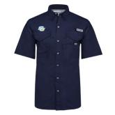 Columbia Bonehead Navy Short Sleeve Shirt-Interlocking SU
